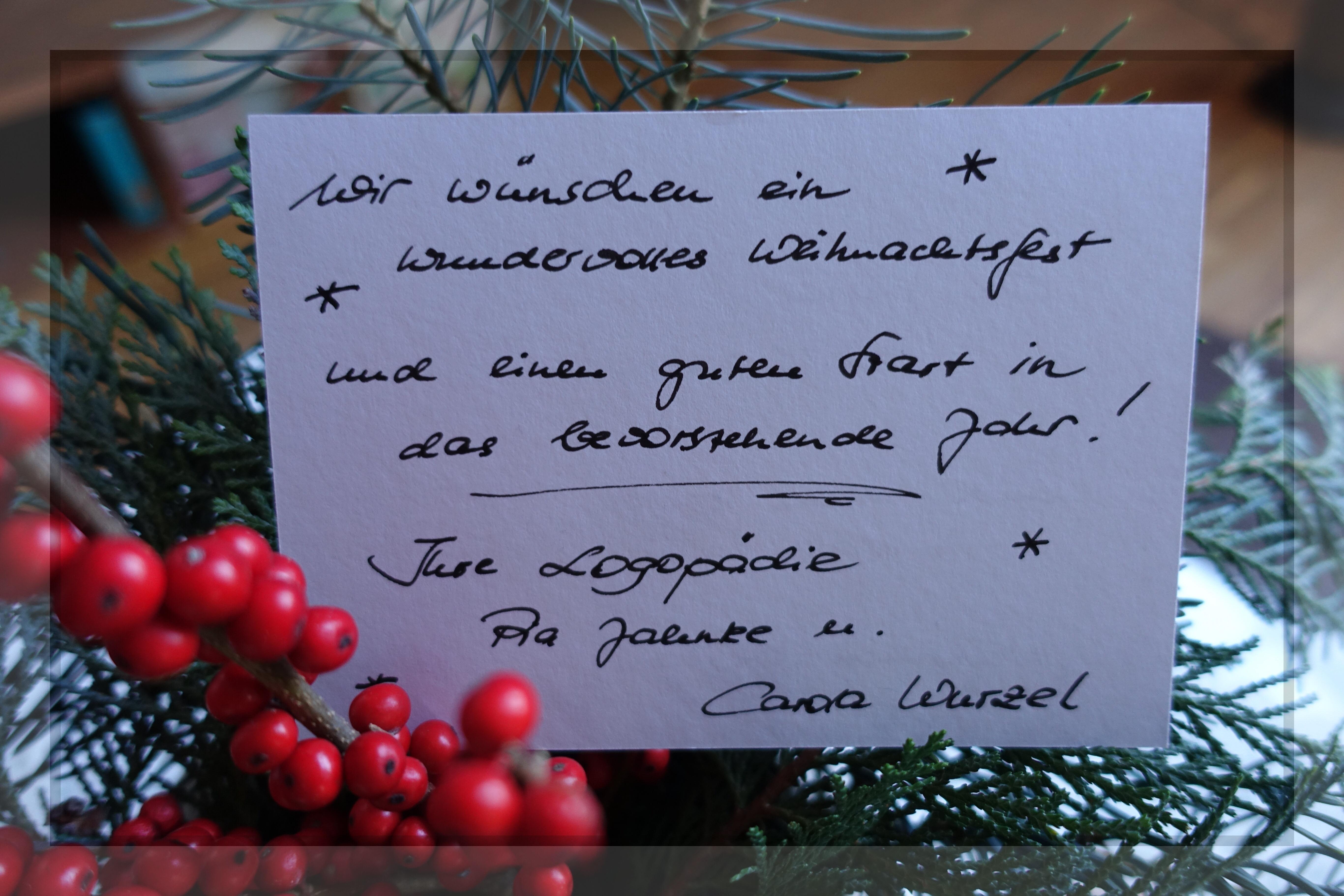 Weihnachten Logopädie Jahnke Wurzel
